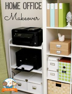 Storage and Organization Blues Inexpensive Home Office Printer Stand & other organization ideas.get my closet space to look like this! :)Inexpensive Home Office Printer Stand & other organization ideas.get my closet space to look like this! Home Office Closet, Home Office Storage, Guest Room Office, Home Office Organization, Home Office Space, Home Office Decor, Organization Ideas, Closet Space, Office Ideas