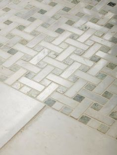 This woven mosaic tile is a perfect complement to the bathroom& style and will wear well. To stretch your budget, surround decorative tile with more affordable plain tile around the perimeter of the room. Bathroom Floor Tiles, Bathroom Renos, Small Bathroom, Tile Floor, Bathroom Ideas, Shower Floor, Master Bathrooms, Budget Bathroom, Flooring Tiles