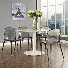 Modway Scape Dining Side Chair Scape Dining Side Chair: Acrylic dining side chair Features a space vessel look Measurements: W x D x H Seat height Material: Acrylic Care: Wipe with a damp cloth Brand: Modway Origin: Imported Living Room Chairs, Furniture Design Modern, Dinette Sets, Modern Dining Side Chairs, Modern Dining Chairs, Modern Classic Furniture, Furniture, Side Chairs Dining, Modway Furniture