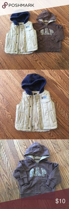🐝Clearance🐝Baby Gap Hooded Zip-up Sweater & Vest Size 2T for Vest & 18-24 months for zip-up sweater GAP Jackets & Coats