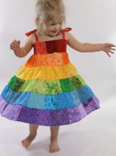 Rainbow patchwork dress. This is so cute.
