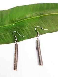 Handcut wood earring Wood jewelry Stick by createdCreatons on Etsy, $10.00