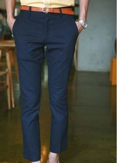 Korean Casual Plus Size Candy Color Pencil Cotton Pants For Men Navy Blue