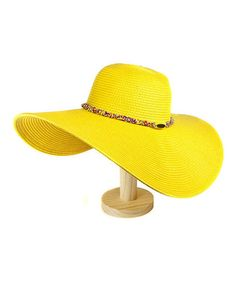 Take a look at this Yellow Beaded Floppy Sunhat by Violet Del Mar on #zulily today!