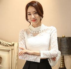Women's Beaded Openwork Lace Long Sleeve Casual Blouse | 9th Wave