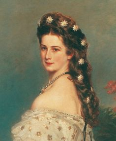 Detail of Winterhalter's portrait of Empress Elizabeth (Sisi)