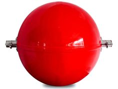 The picture shows a red obstruction marking sphere with two clamps.