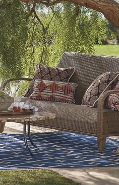 "Like its namesake island, our Madeira Collection elicits carefree sophistication. Its fluid design and gorgeous all-weather weave handle the elements beautifully, yet its true asset is a hidden layer of 2-1/2"" thick reticulated foam. 