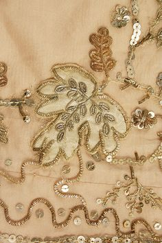 Embroidery detail of a French dress, 1804–14