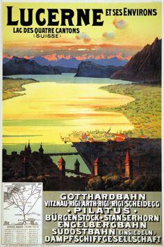 Vintage Travel Poster: Lucerne, Switzerland 1912