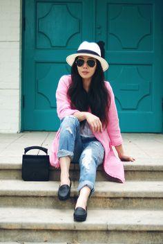 Pink Coat (by Hallie S.) http://lookbook.nu/look/3453931-Pink-Coat-Zara-Coat-Alexander-Wang-Clutch-Chanel-Loafers