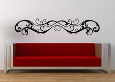 Horizontal Wall Art Victorian Swirl Decal Fleur de lis Horizontal Decor Wall Decal Sticker Vinyl Home Wall Art Bedroom Decor & Goth swirl scroll wall decals stickers | Wall decal sticker Wall ...