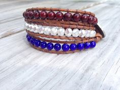 July 4th SALE  Triple Leather Wrap  Red White and Blue