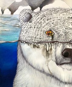 """""""Sinking Beauty"""" by Roy Park, Age Bow Seat Student Artist - The annual Ocean Awareness Contest invites teens to create visual art, writing, film, and music tha - Poesia Visual, Save Our Earth, Expo, Environmental Art, Art Sketchbook, Ecology, Art Projects, Polar Bears, Drawings"""