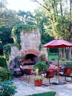 Ivy covered outdoor fireplace