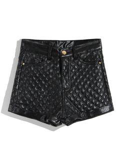 Black High Waist Diamond Patterned PU Shorts US$32.79