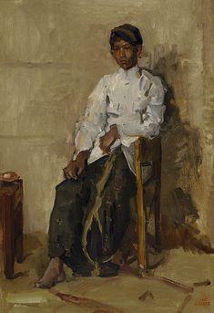 Seated Javanese boy, ca. Bali Painting, Painting People, Figure Painting, Renoir, Monet, Eugene Boudin, Indonesian Art, Academic Art, Le Havre