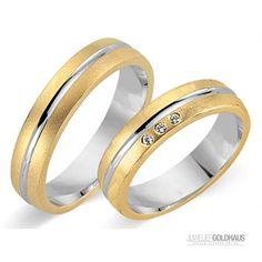 Trauringe Eheringe Gold Gelb/Weiss - CERA3243 Trauringe Eheringe bei Juwelier-Goldhaus.de online kaufen für 889,00€  #Trauringe #Eheringe aus #Gold Gelbgold - #Goldhaus - Ihr Juwelier-Goldhaus.de #Onlineshop