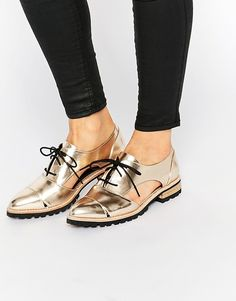Gold Cut Out Flat Brogues