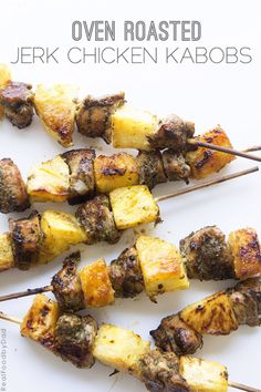 Oven Roasted Jerk Chicken Kabobs // Real Food by Dad #jerkchicken #kabobs #bbq