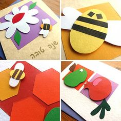 Cut pieces of colored paper and glue together to make Rosh Hashanah symbols - these would make nice place cards or greeting cards Rosh Hashanah Greetings, Rosh Hashanah Cards, New Year's Crafts, Holiday Crafts For Kids, Kid Crafts, Craft Activities, Preschool Crafts, Yom Kippur Crafts, Yom Teruah