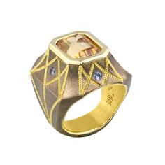 """Cleopatra"" is the ring from the Bronze Age Collection with 5.68 ct. Precious Topaz, pastel Blue Sapphires and Gold."