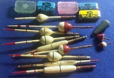 lot of 12 VINTAGE WOOD BOBBERS - FLOATS - FISHING TACKLE SINKER TINS