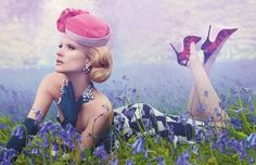 The bluebells have blossomed in the fields for hundreds of years. The appearance of jewelry was a bit more recent. Lanvin dress ($4,400); Vintage Modes hat ($99); Gucci gloves ($525); Gillian Horsup earrings ($90); Asprey necklace (top, $84,500); Shourouk necklace ($919); Buccellati ring ($98,023) and bracelet (top, $158,389); Pebble London bangles (from $116); Manolo Blahnik shoes ($1,185); What Katie Did tights ($18).