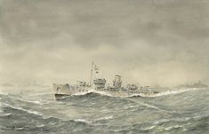 Flower class Corvette HMS in the North Atlantic Winter 1940 By Commander Eric Tufnell RN Royal Canadian Navy, Royal Navy, Joining The Navy, Sea Storm, Naval History, Ship Art, Coast Guard, Military Art, Water Crafts