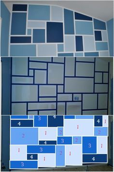 "Painters tape accent wall: Using a roller, paint where you want your border lines. Let dry. Use a wide painters tape and a level to create grid. Take a picture of the wall. Open file in the program ""PAINT"" create colors that are similar to your paint colors. Create boxes in paint with your different colors to create a practice grid of your color to figure out what works best. Use your template to paint your colors on the wall. Let paint dry and remove tape. Fix any paint bleeds you may have."
