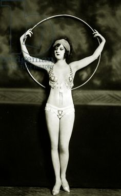 Ziegfeld Follies girl with hula hoop, c.1928 (b/w photo)
