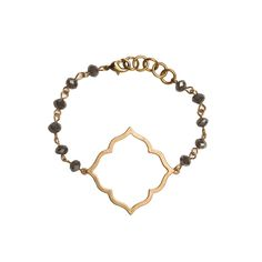 Gold Octagon Cutout on Grey Beaded Bracelet - Large Gold Quatrefoil Cutout Earrings - Beaucoup Designs Silhouette Collection features time proven shapes combined with beads, pearls, chains and leather. #festivalstyle #ss2016 #goldjewelry #jewelry