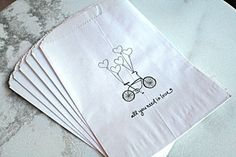 Favor bags, 50 white kraft paper bags.  Bike with balloons, All You Need Is Love.  Wedding, engagement, bridal shower.. $25,00, via Etsy.