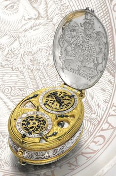 David Ramsay AN IMPORTANT AND EARLY SILVER AND GILT-METAL OVAL ASTRONOMICAL VERGE WATCH WITH PORTRAIT ENGRAVING OF KING JAMES I AND INDICATIONS FOR MONTHS WITH SIGNS OF THE ZODIAC,  DAY WITH RULING PLANET, LUNAR DATE, MOON-PHASES AND PLANET HOUR CIRCA 1618 Estimate 150,000 — 250,000 GBP