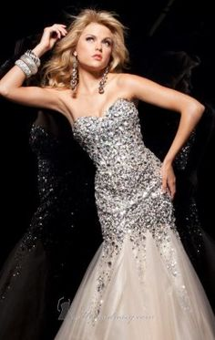 Fit And Flare Beaded Evening Gown by Tony Bowls Paris 113720
