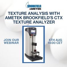 Upcoming Free Webinar: Texture Analysis with AMETEK Brookfield's CTX Texture Analyzer Date & Time: 5th August, 2 PM CET Learn the best solutions of measuring texture analysis of different products. Register for the webinar now! If you have any queries, send us an email to Brookfield-support.de@ametek.com. If you would like to attend but the offered dates do not fit, please contact us. We offer webinars on different dates. Center Of Excellence, Texture, Dates, Europe, Fit, Products, Surface Finish, Shape, Date