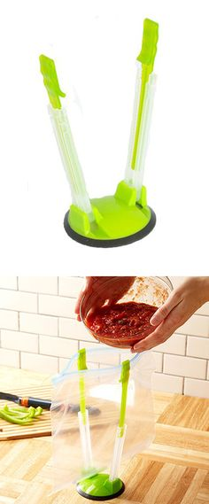 Hands-free bag holder...great for storing leftovers or use it to dry washed bags.