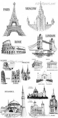 Символы и достопримечательности стран мира нарисованные карандашом - вектор