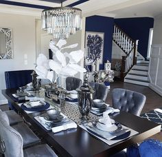 Dress Blues paint color SW 9176 by Sherwin-Williams. View interior and exterior paint colors and color palettes. Get design inspiration for painting projects. Dining Room Blue, Blue Living Room Decor, Dining Room Table Decor, Elegant Dining Room, Luxury Dining Room, Dining Room Design, Blue Home Decor, Dining Room Inspiration, Dress Blues