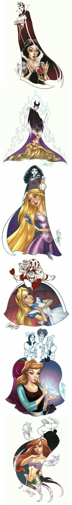 "Evil"": The Series Beautifully Mixes Disney Heroines with Their Villains Artist J. Scott Campbell has once again created some incredible Disney Art. Disney Pixar, Disney And Dreamworks, Disney Magic, Disney Art, Disney Movies, Disney Characters, Disney Stuff, Twisted Disney Princesses, Disney Villains Art"