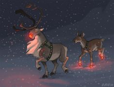 Grandpa Rudolph by Kobb.deviantart.com on @deviantART. Rudolph the Red-Nosed Reindeer grew to be a strong old buck, and when his grandson Randall was born... he'd inherited Rudolph's glow. In his hooves.