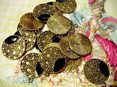 NEWLY LISTED! 12 Cherry Blossoms Round Pendants Japanese Gold/Black. Starting at $3 on Tophatter.com!