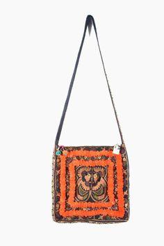 HMONG Cross Body Hippie Boho Bag #ethniclanna https://www.etsy.com/listing/162964245/mocha-bird-and-orange-pom-pom-cross-body?ref=listing-0