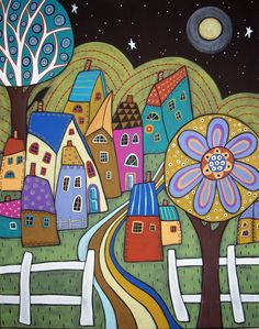 Moonlight Village 8x10 Canvas Print Karla Gerard