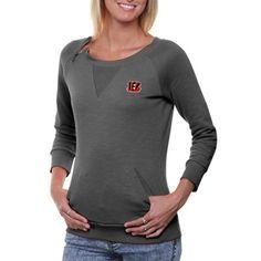 Cutter & Buck Cincinnati Bengals Ladies Offside Overknit Three-Quarter Sleeve Sweatshirt - Charcoal