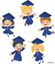 Cartoon little kids celebrate their graduation on vector image on VectorStock Graduation Cartoon, Graduation Clip Art, Preschool Graduation, Graduation Diy, Graduation Invitations, Graduation Cookies, School Clipart, Girls Clips, Embroidery Patterns Free