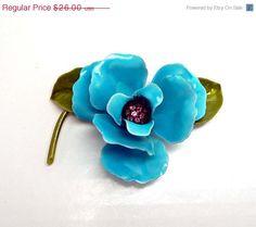 Vintage Turquoise & Rhinestone Flower Power Enamel Brooch #handmade #design