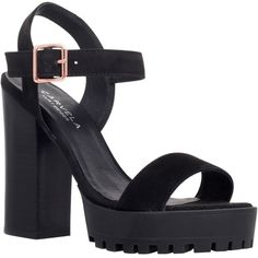 Carvela Gallop Block Heeled Sandals, Black Suede (10.850 RUB) ❤ liked on Polyvore
