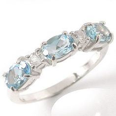 1.86ct. Natural Blue  White Topaz 925 Sterling Silver Ring Size 7 -