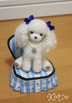 felting dog, white poodle and small chair